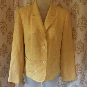Talbots yellow tweed-like blazer sz 8P